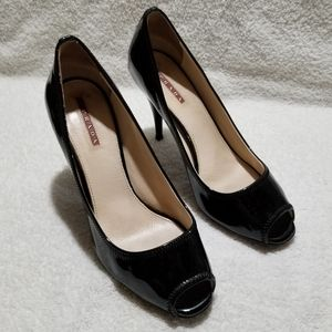 Prada black patent leather open toe shoes